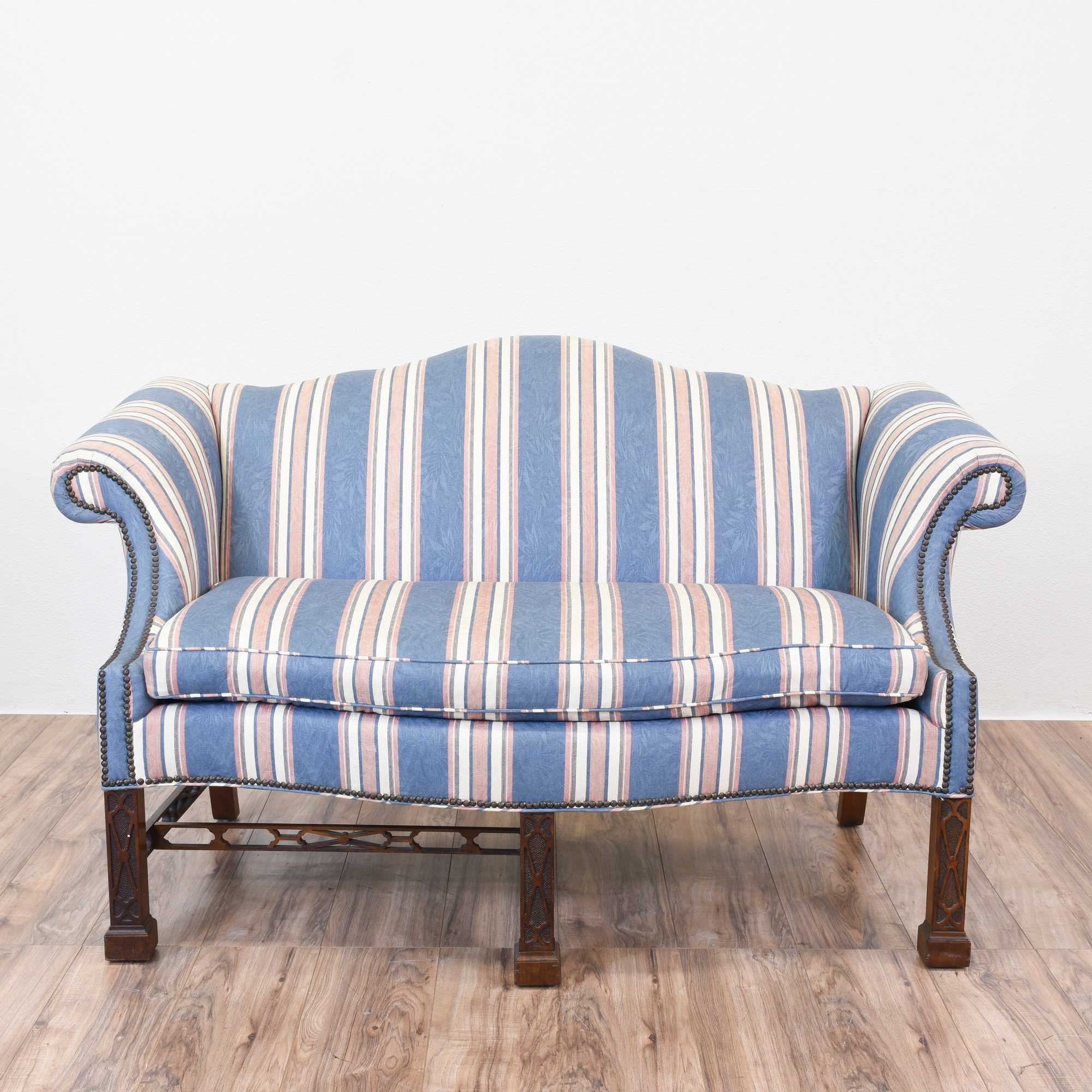 Blue Striped Camelback Chippendale Sofa