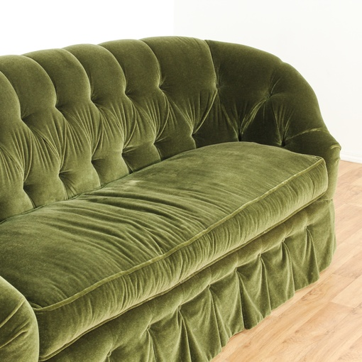 Green Cut Velvet Tufted Sofa Loveseat