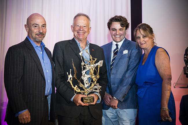 Clive Jacobs, Ian Harris, winner of the Gerard Basset Award, and Nina and Romané Basset