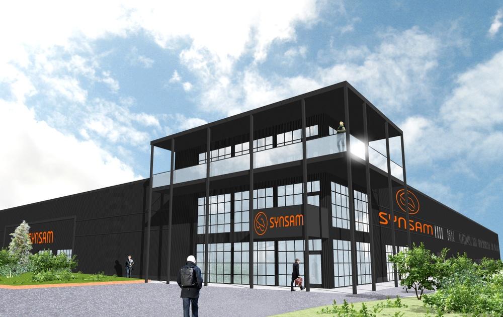Nu är det klart att Synsams fabrik- och innovationscenter uppförs i Östersund med cirka 200 nya arbetstillfällen. Skissbild på byggnaden.