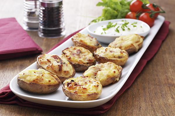 Bannisters' Farm cheese and bacon-filled potato skins