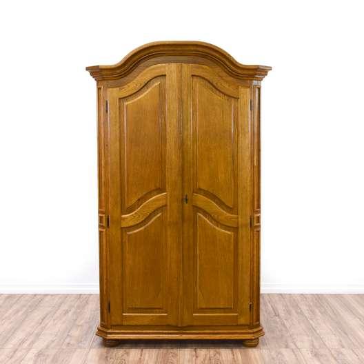 Light Oak Carved Wardrobe Armoire