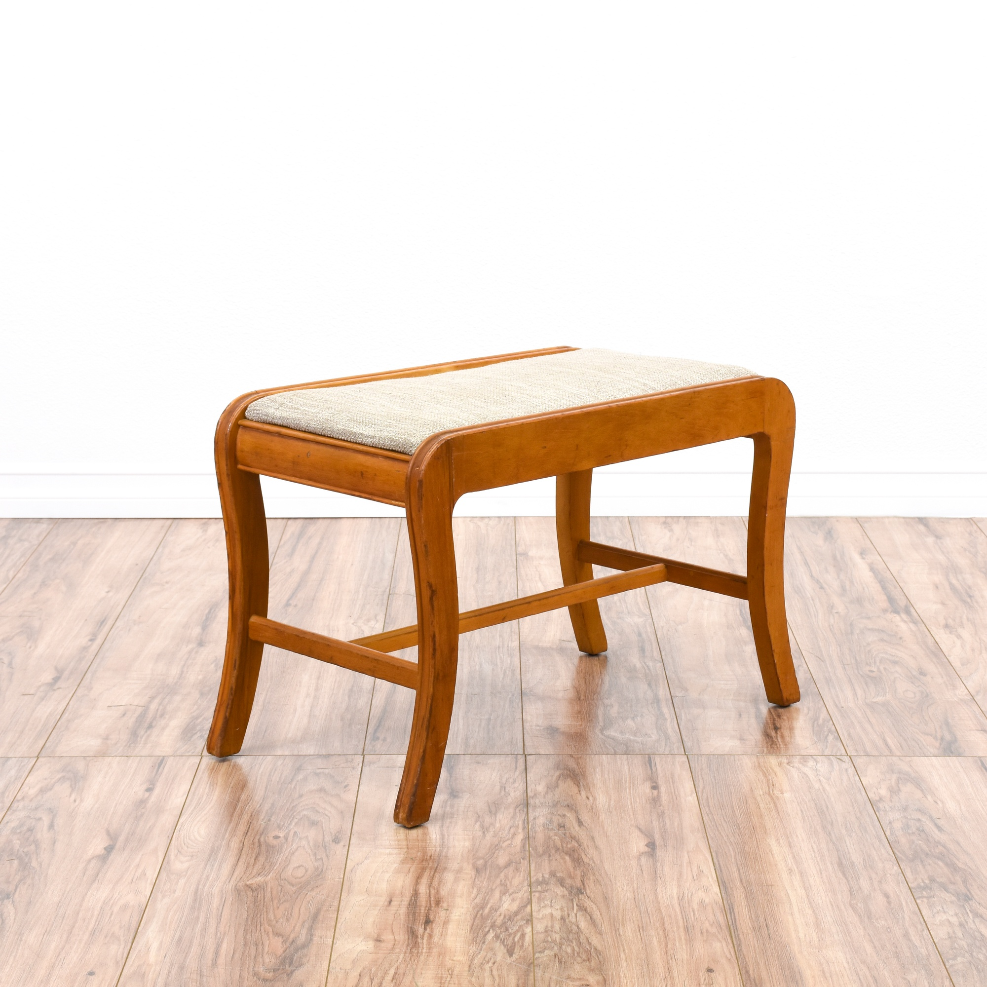 Curved Maple Vanity Stool Bench | Loveseat Vintage Furniture San Diego
