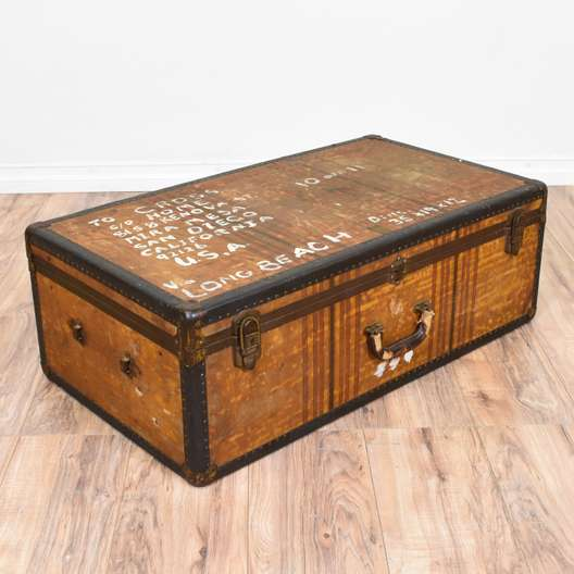 Long Distressed Trunk w/ Brass Accents