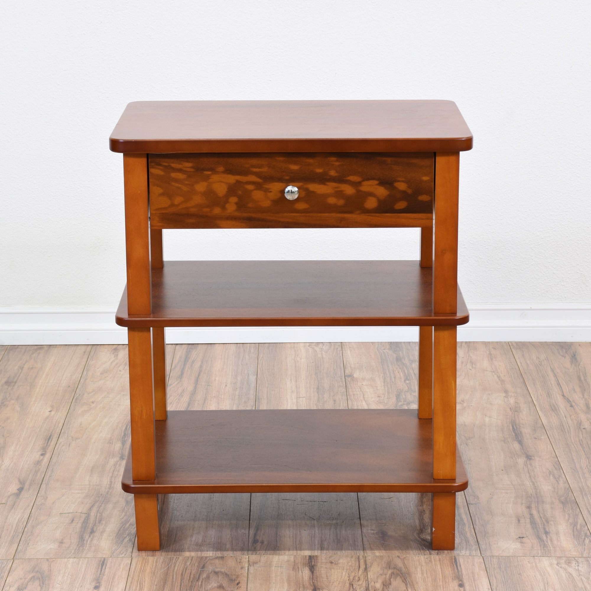Cherry 3 Tiered End Table W Drawer Loveseat Vintage