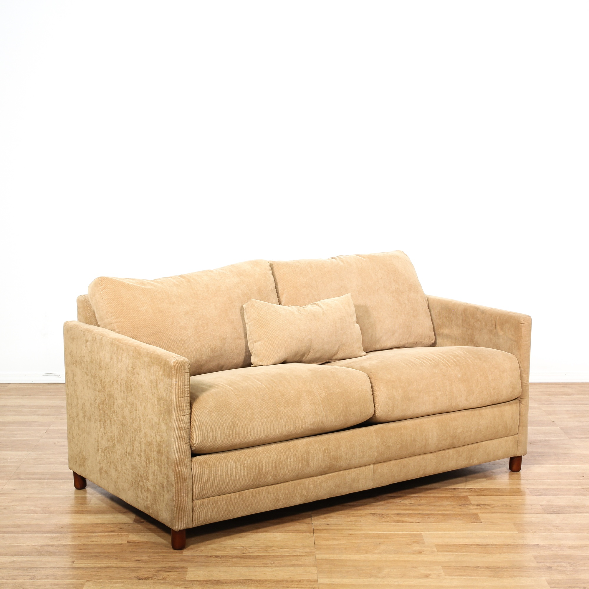 Baker brown corduroy loveseat sleeper sofa loveseat for Brown corduroy couch