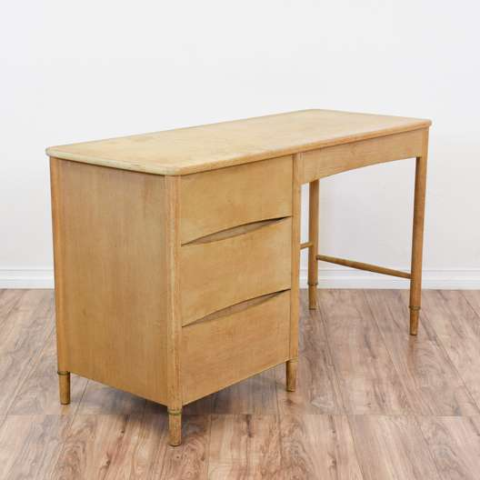"""Mengel"" Mid Century Modern Light Wood Desk"