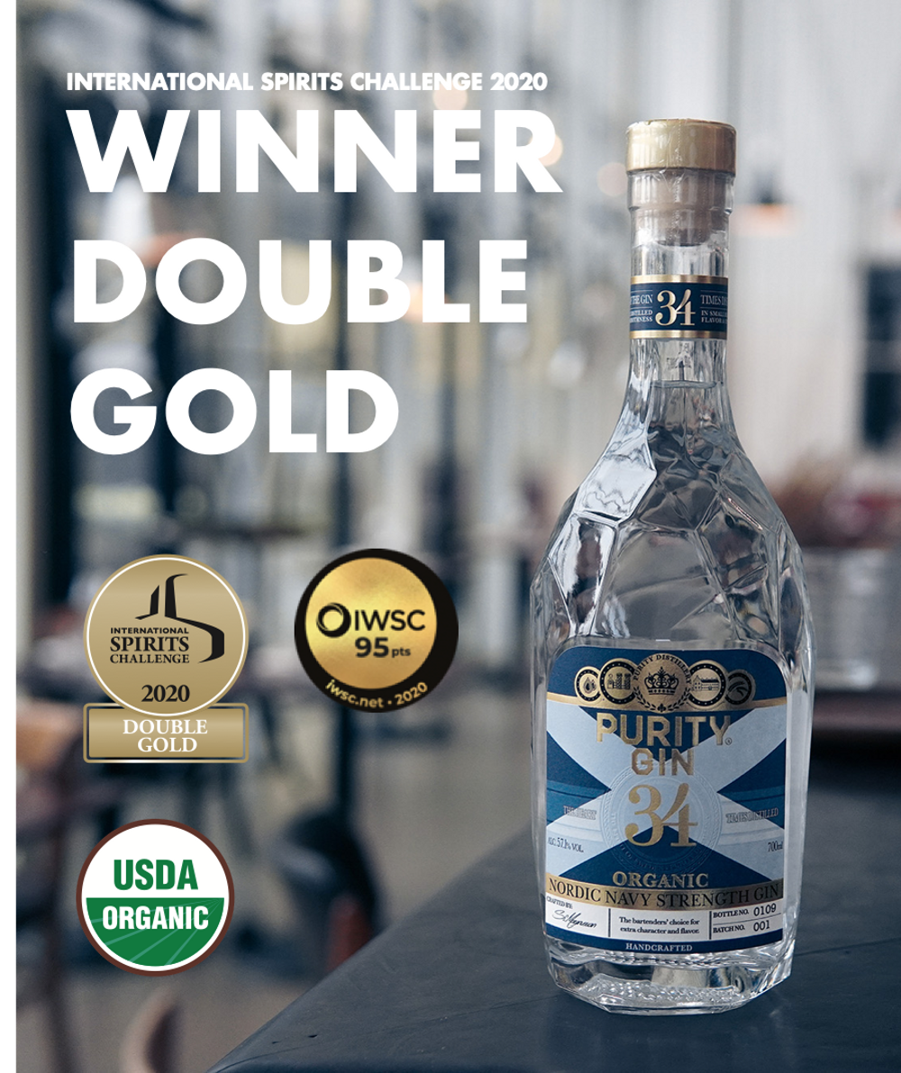 PURITY NAVY STRENGTH ORGANIC GIN - winner double gold