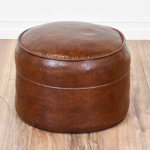 Contemporary Brown Faux Leather Ottoman