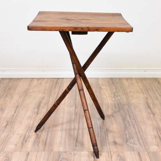 Rustic Wood Tripod Side Table
