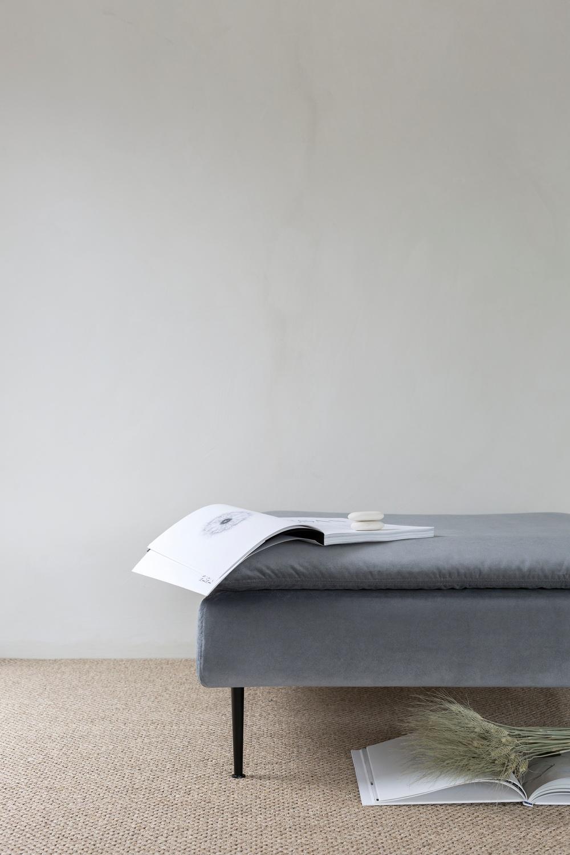 Bemz cover for IKEA Söderhamn footstool, fabric: Simply Velvet Zinc Grey.  Photographer: Sara Medina Lind Stylist: Annaleena Leino