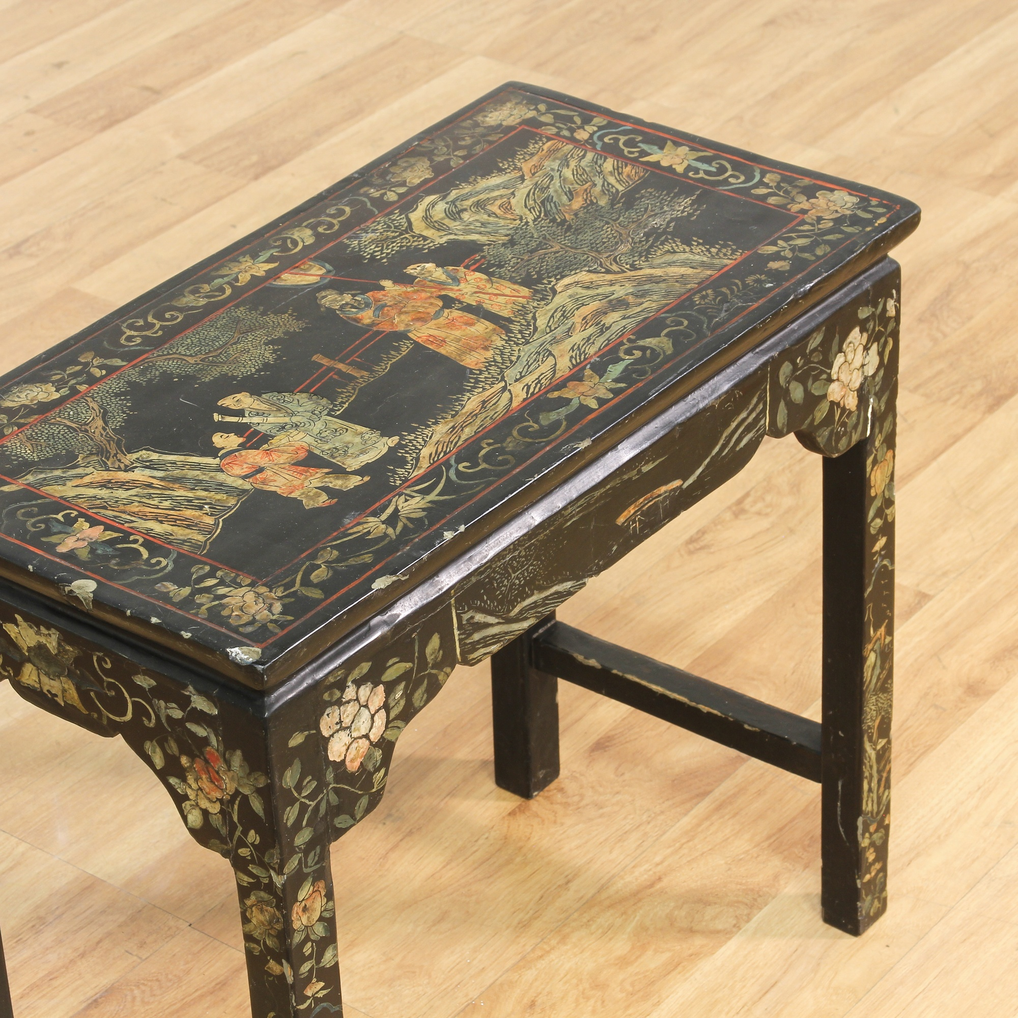 Chinese lacquered occasional table loveseat vintage for Oriental furniture los angeles