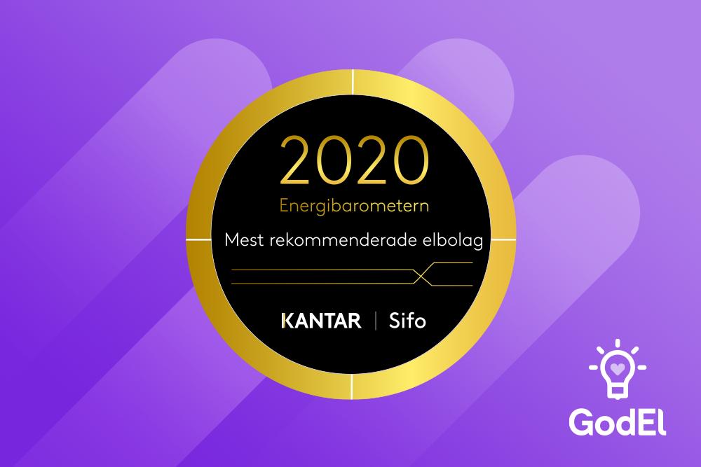 GodEl är Sveriges mest rekommenderade elbolag 2019 och 2020.