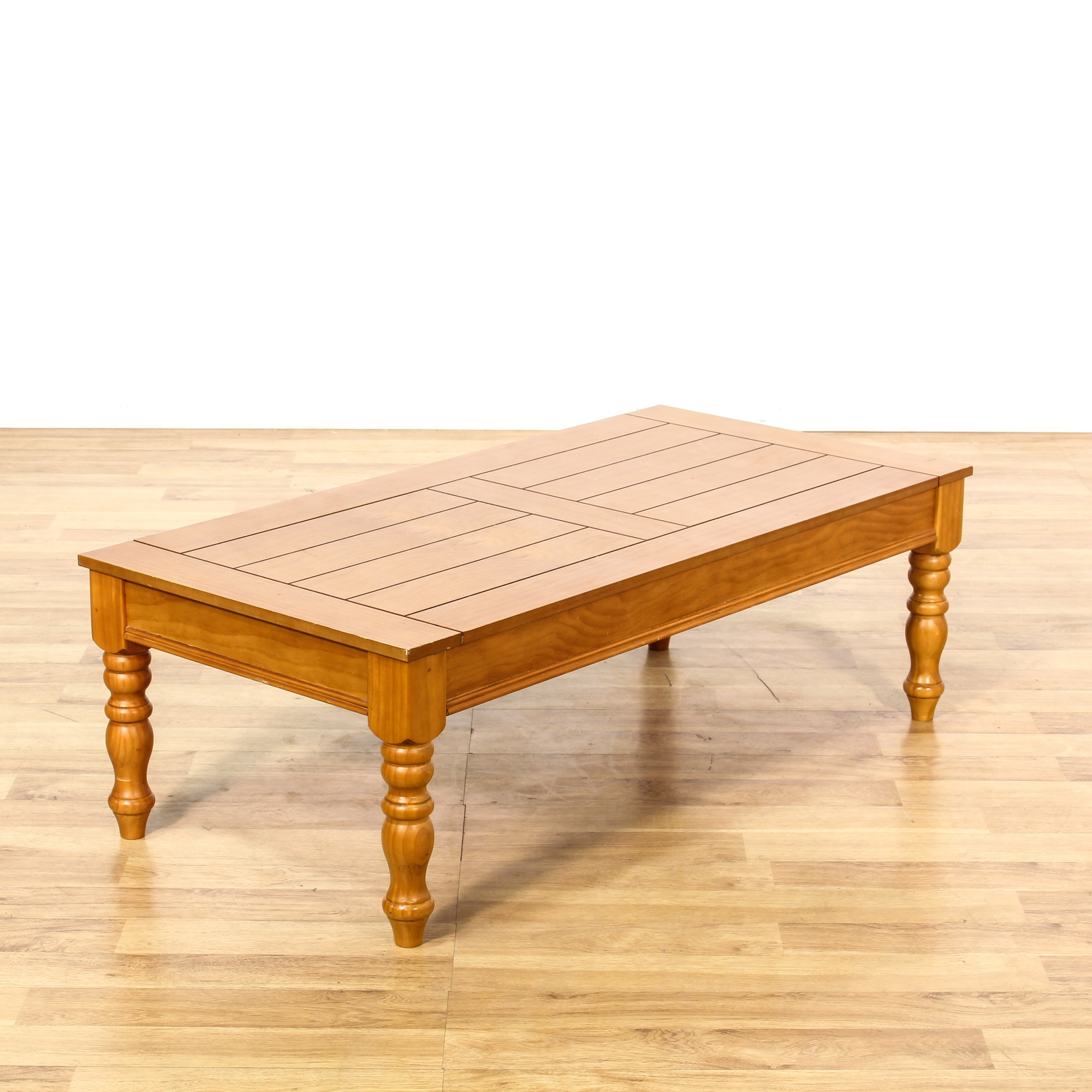 Rustic Pine Wood Coffee Table: Rustic Country Pine Stained Coffee Table 2