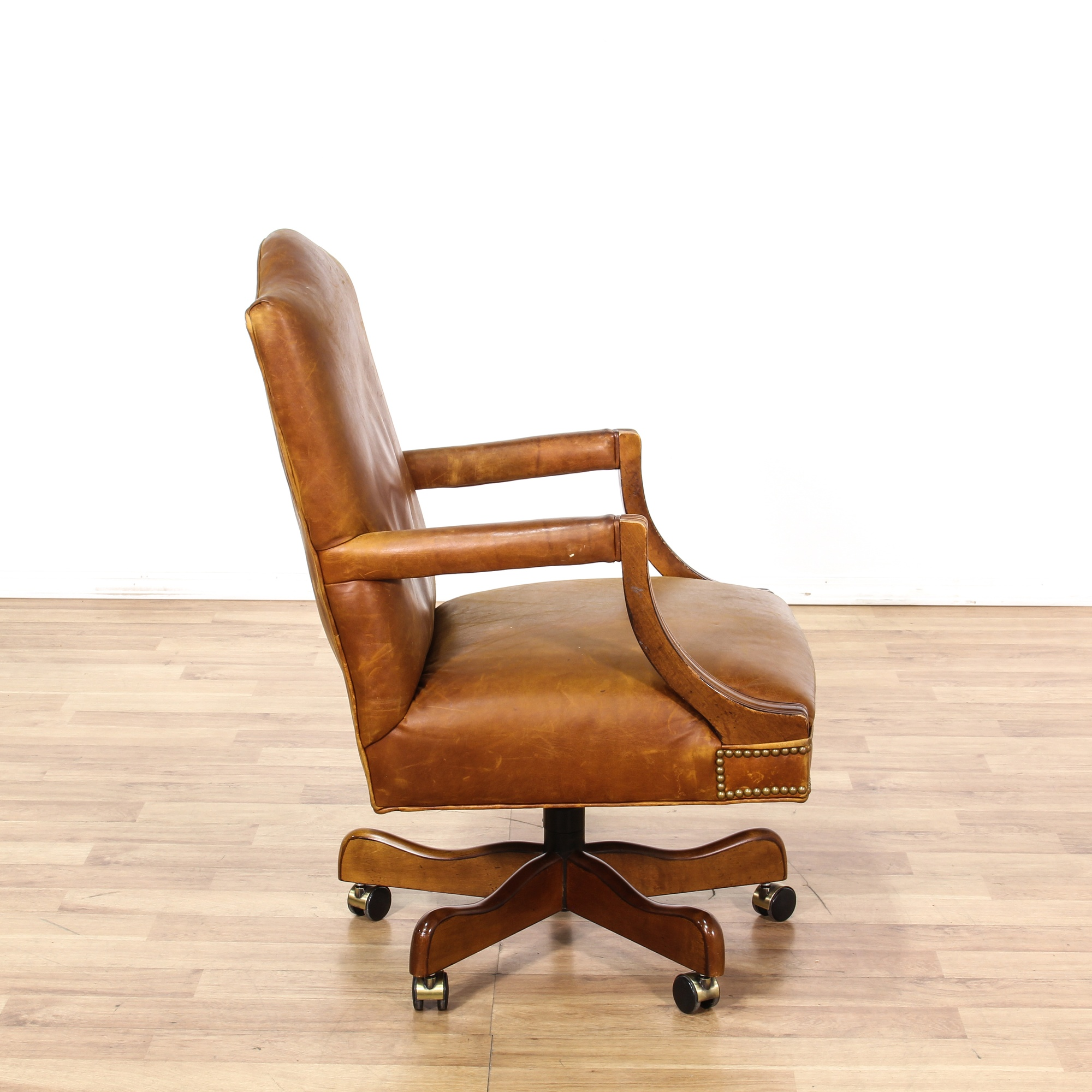 Leather Brass Studded Brown Office Chair Loveseat