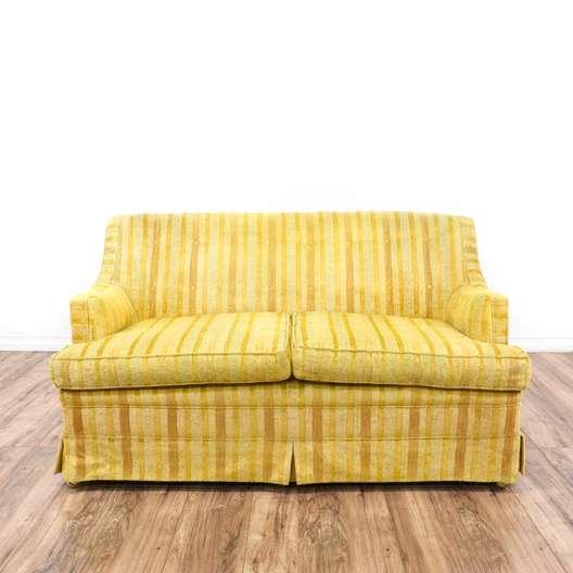 Yellow Striped Mid Century Modern Loveseat Sofa