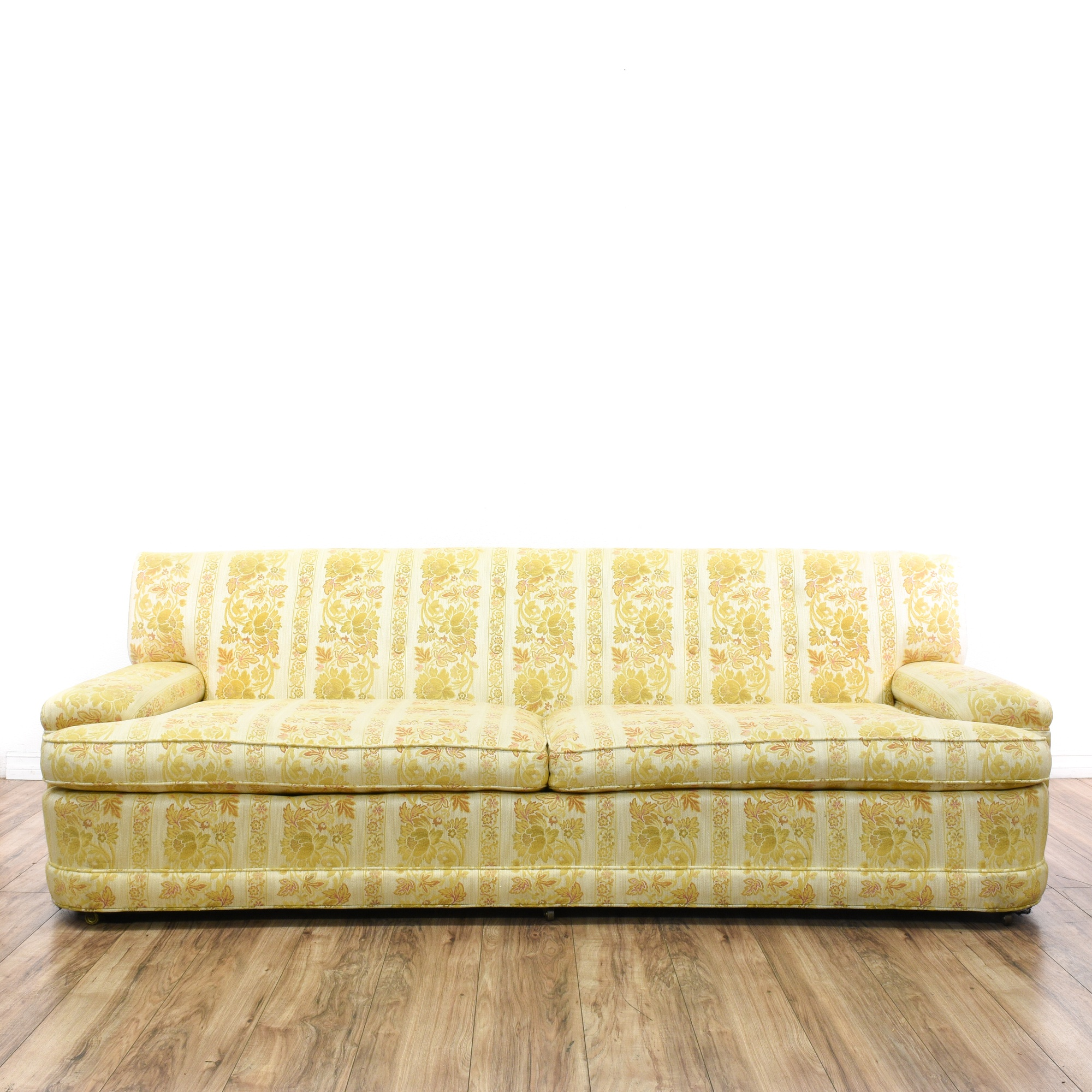 Mid Century Modern Yellow Floral Sofa | Loveseat Vintage ...