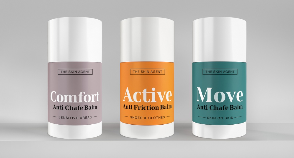 Highres version of alla Personal Comfort product from The Skin Agent. Comfort Anti Chafe Balm, Active Anti Friction Balm och Move Anti Chafe Balm.