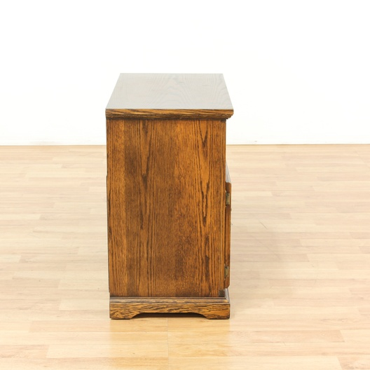 Oak tv stand w pull out shelf loveseat vintage for G furniture los angeles