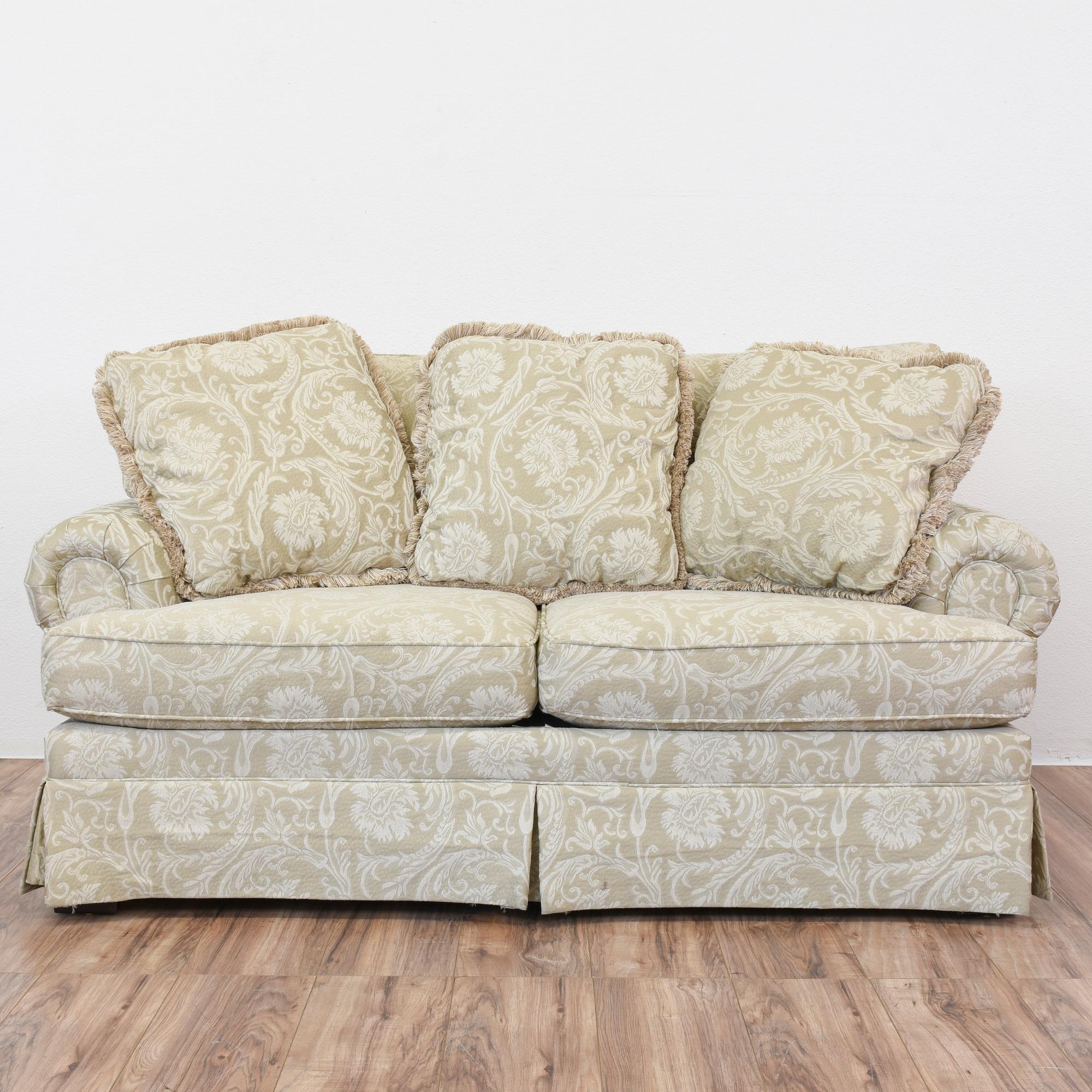 Beige Damask Loveseat Sofa   Loveseat Vintage Furniture San Diego