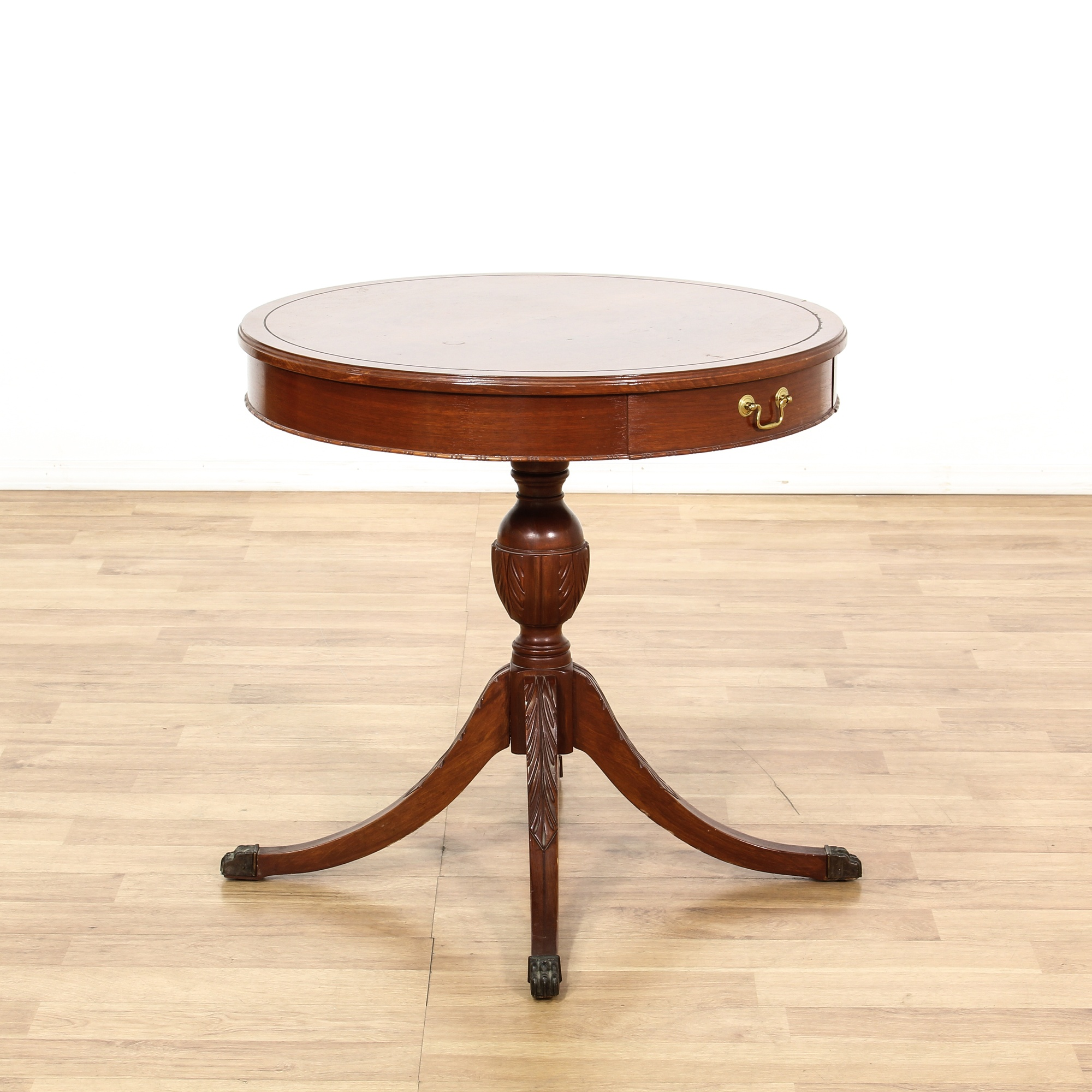 Duncan Storage Coffee Table: Round Duncan Phyfe Mahogany End Table