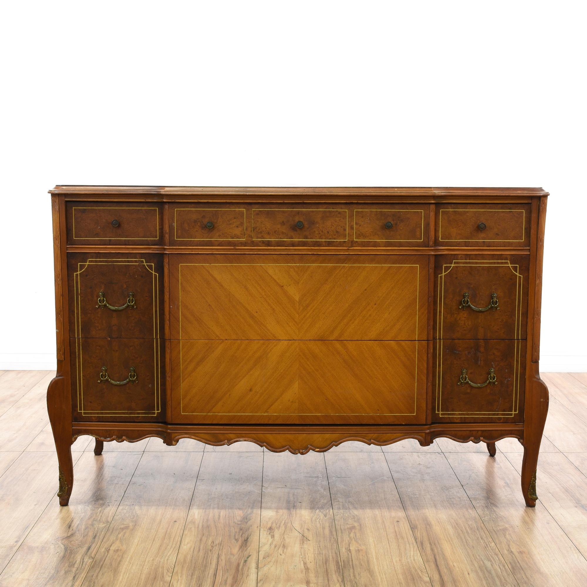 Captivating Antique Burl Wood Marquetry Dresser | Loveseat Vintage Furniture San Diego