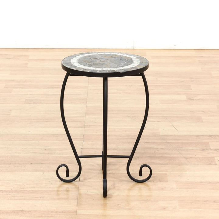 Round Metal Patio End Table W Tile Top Loveseat Vintage