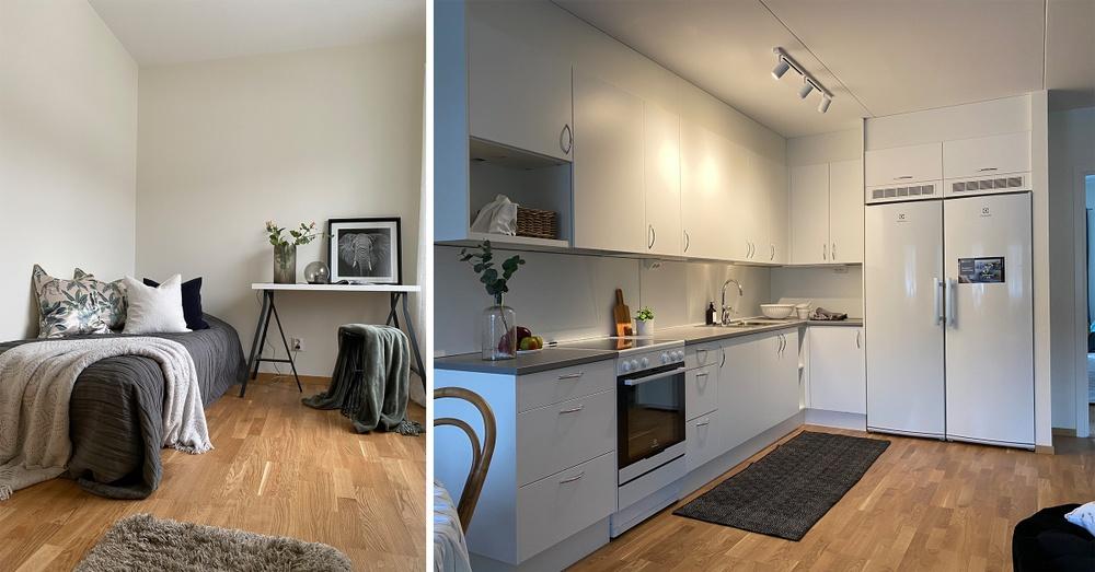 Ett stenkast från Upplands Väsby station står det första huset i Åhusen klar för uthyrning. Visningslägenheten har 4 rum och kök och är 87 kvm stor.