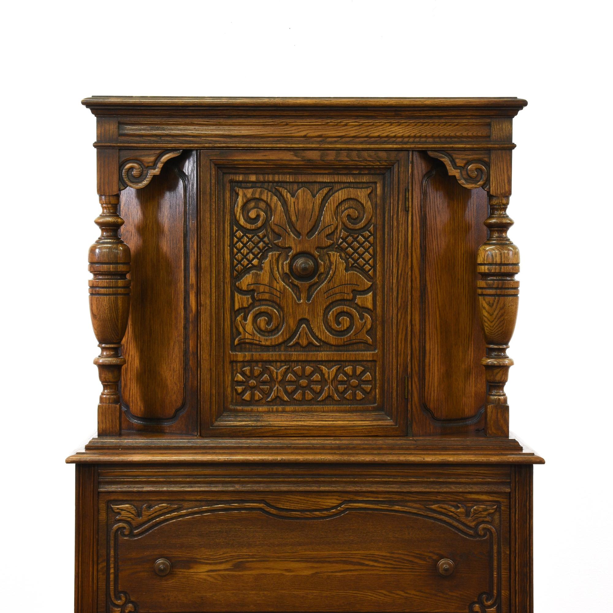 Carved spanish revival server loveseat vintage furniture