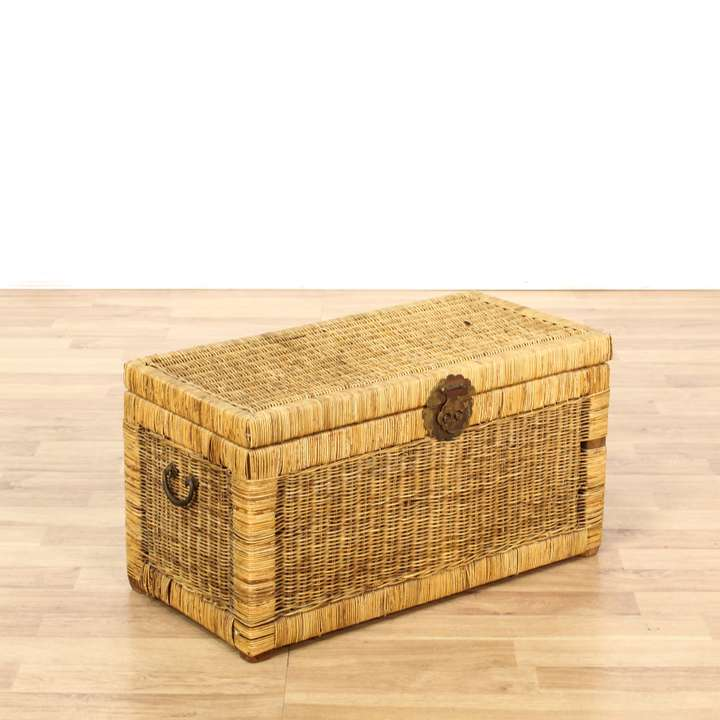 Rustic Driftwood Colored Wicker Storage Trunk Loveseat