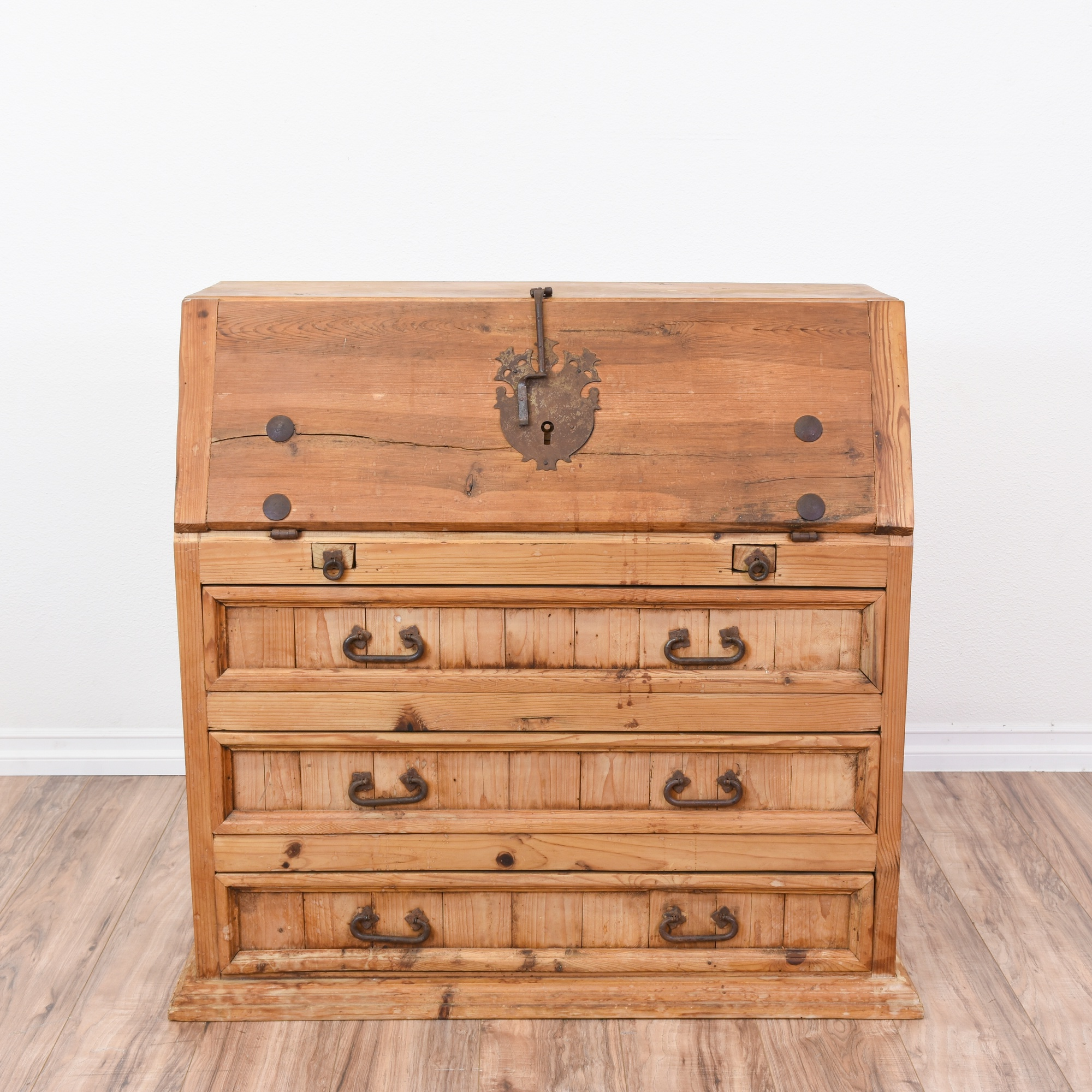 Good Rustic Pine Drop Down Secretary Desk Dresser   Loveseat Vintage Furniture  San Diego