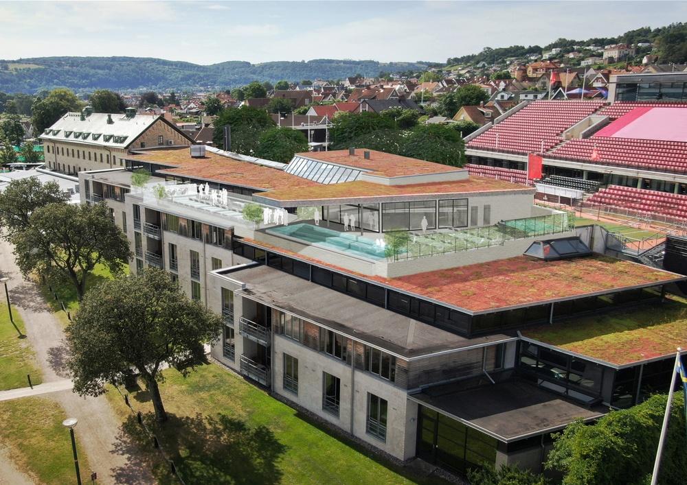 Exteriörskiss av Hotel Skansens nya spa Bild: DAPstockholm