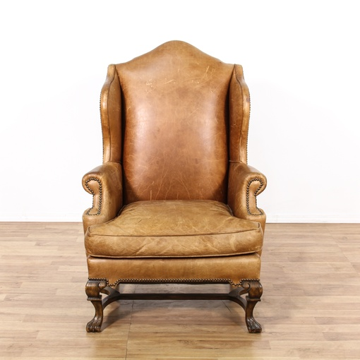 Leather Sofas In Los Angeles: Studded Leather Upholstered Armchair