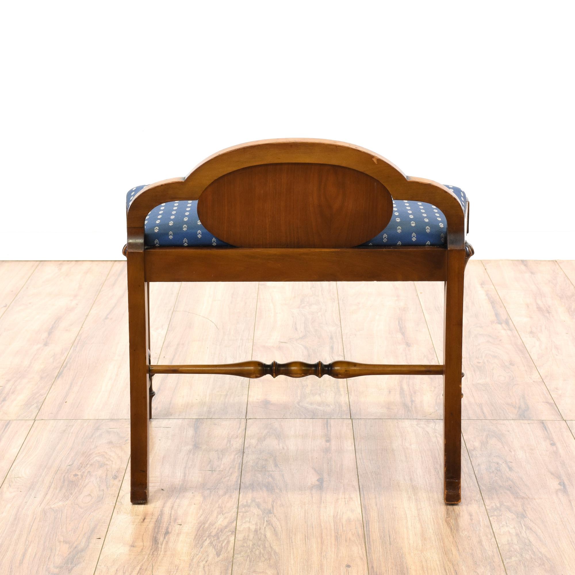 Vintage Carved Walnut Vanity Bench