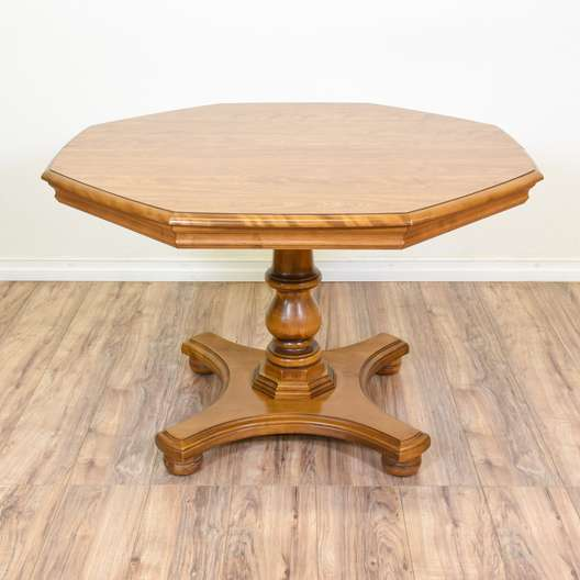 Carved Octagon Honey Oak Dining Table