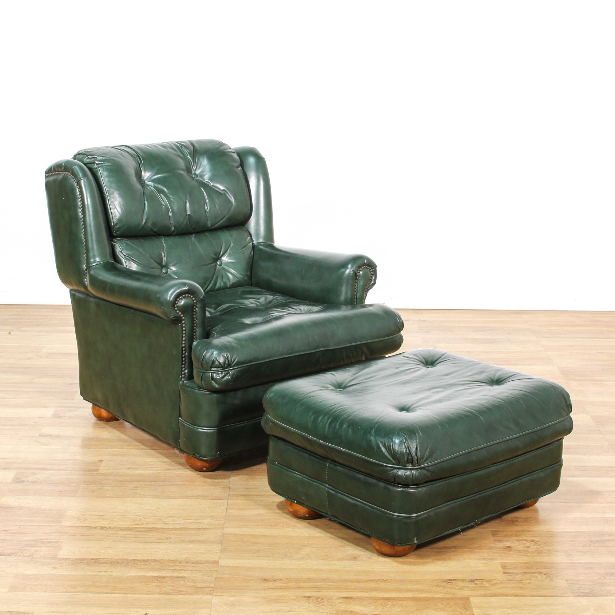 Dark Green Leather Upholstered Chair Ottoman Loveseat Vintage Furniture San Diego Los Angeles