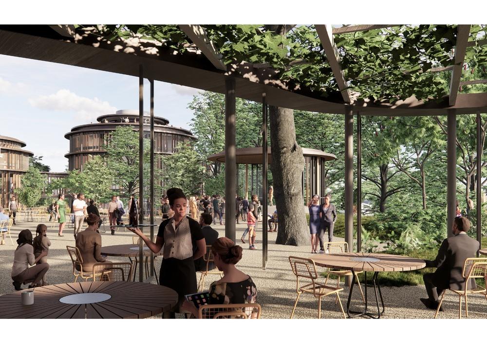 Den återuppståndna terrassen blir Hasselbackens hjärta och den tydligaste kopplingen till platsens historia som Skandinaviens största trädgårdsrestaurang vid sin tid. Tillbyggnaderna ramar in och skyddar den grusbelagda terrassen och nya väderskydd med öppningsbara glasväggar möjliggör en förlängning av säsongen.