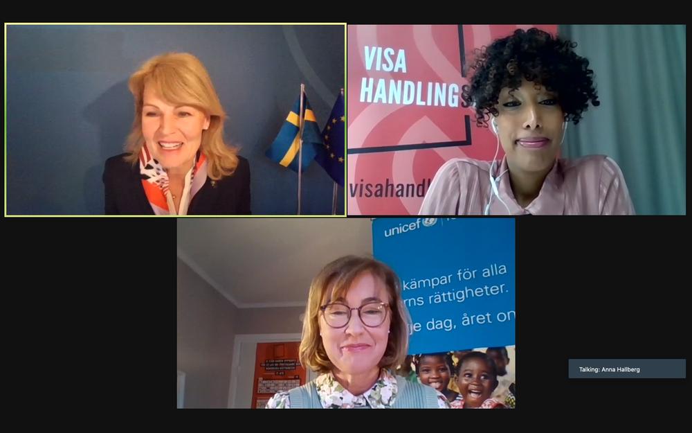 Handelsminister Anna Hallberg, Hewan Temesghen, generalsekreterare på Fairtrade Sverige och Pernilla Baralt, generalsekreterare Unicef.