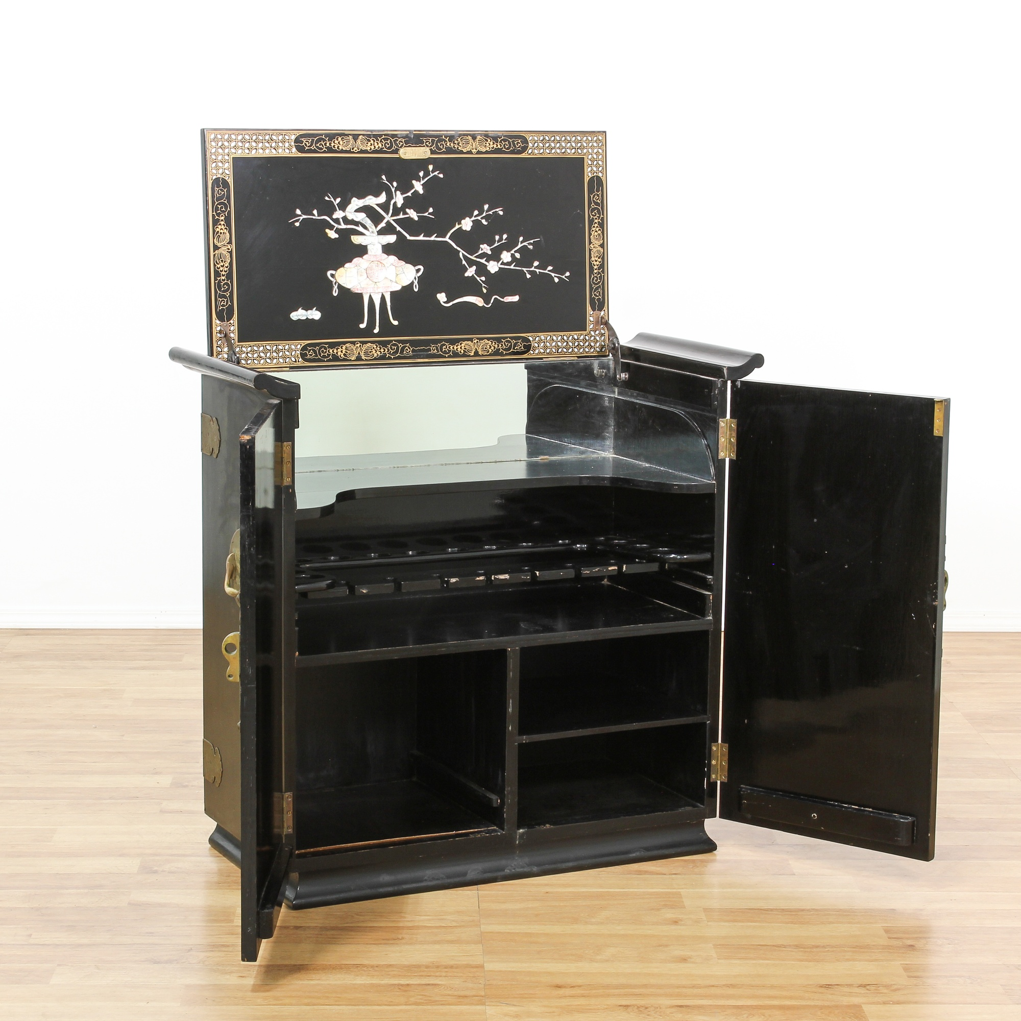 Black Lacquered Asian Inlay Bar Cabinet Loveseat Vintage