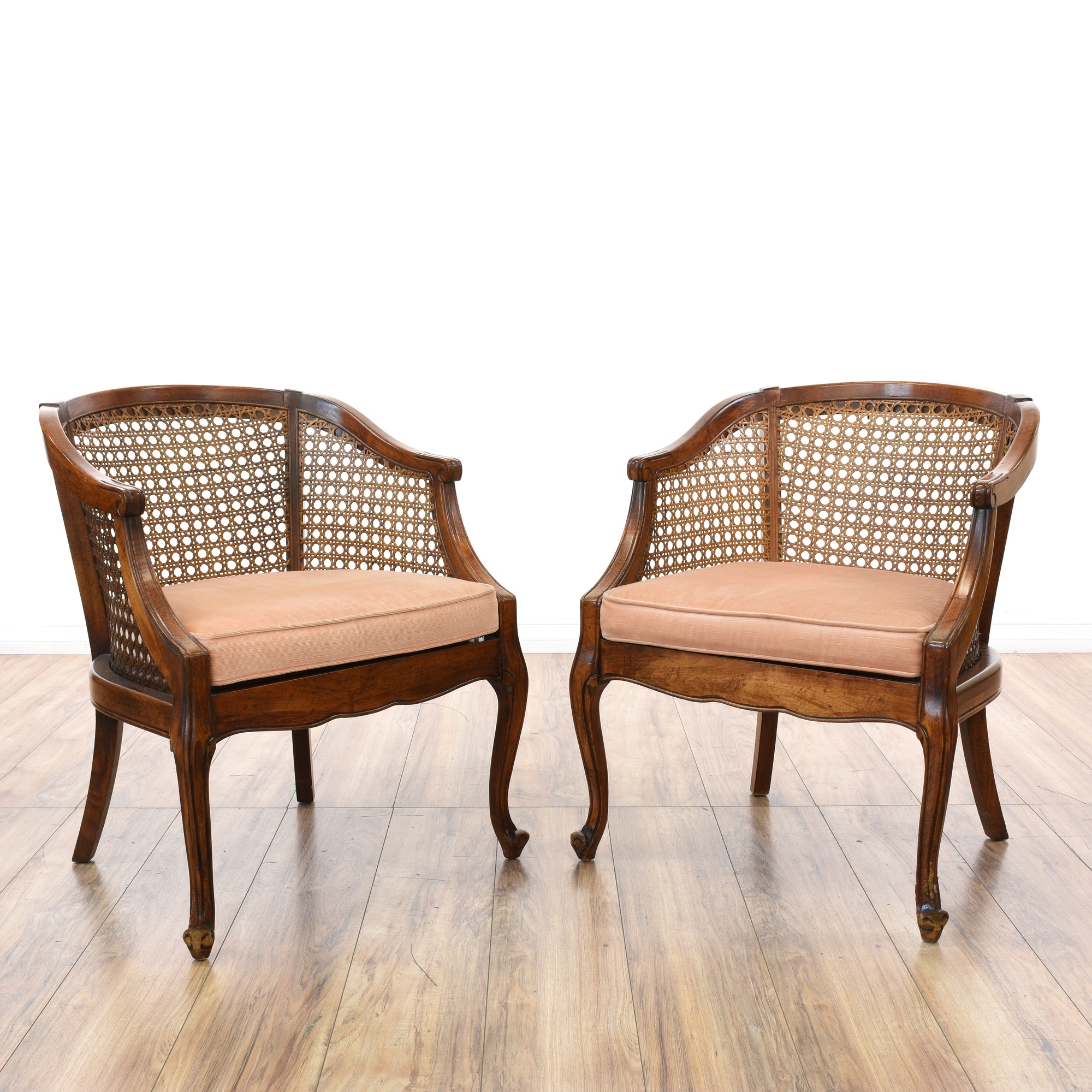 Pair Of Cherry Curved Barrel Cane Back Chairs Loveseat Vintage Furniture San Go