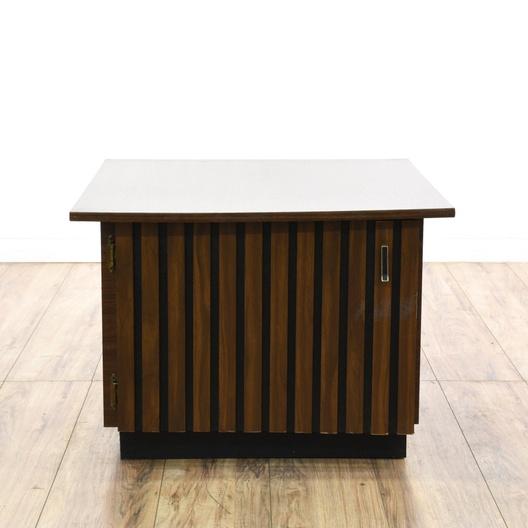 Mid Century Modern Walnut Cabinet End Table Loveseat