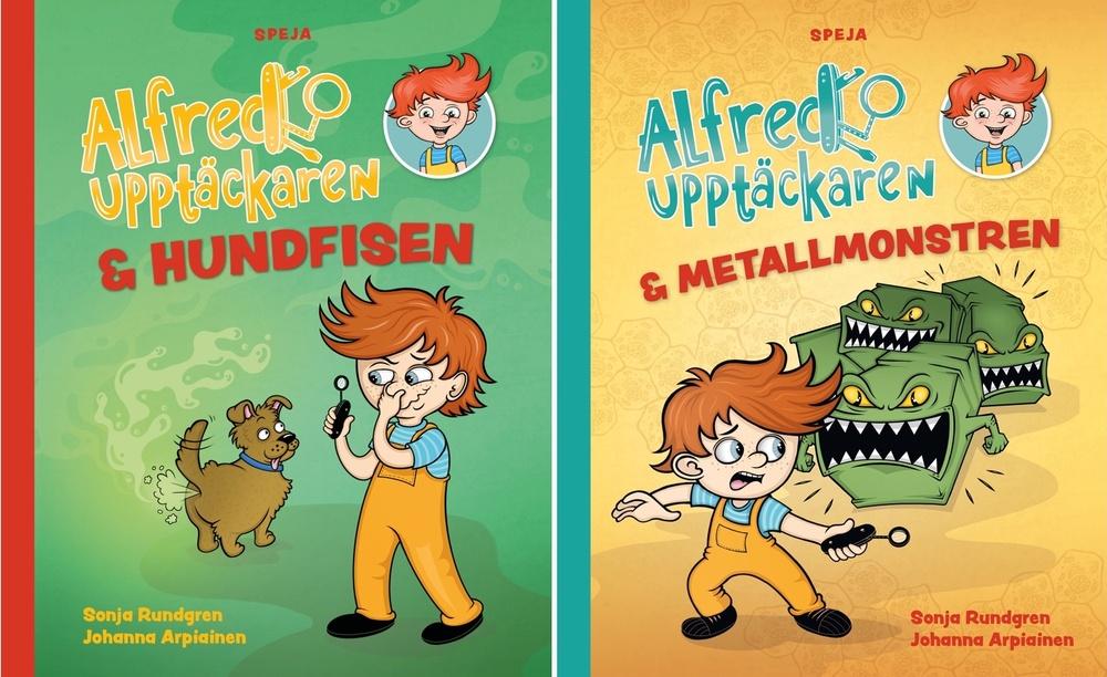 Bokomslag: Alfred Upptäckaren & hundfisen, Alfred Upptäckaren & metallmonstren