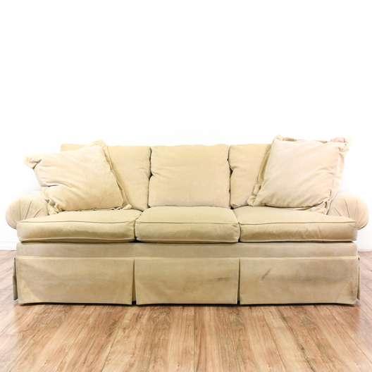 """""""Henredon"""" Beige Velvet Sofa Couch"""