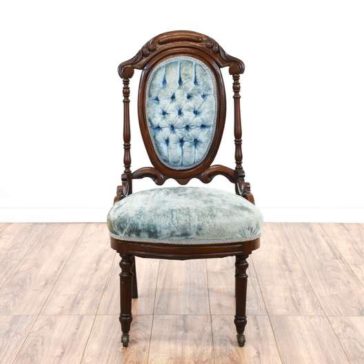 Victorian Cherry Carved Blue Velvet Accent Chair