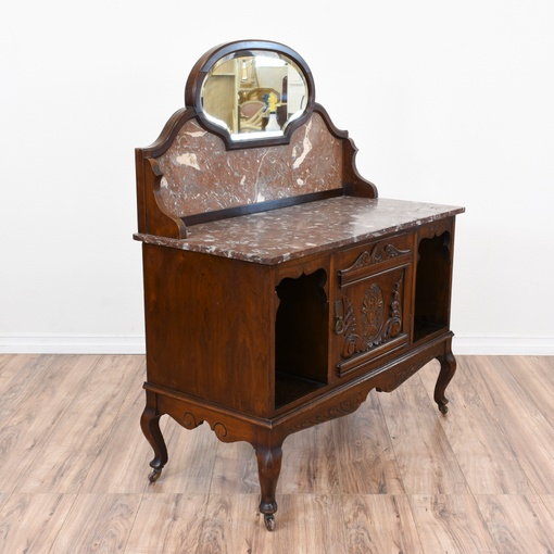 Antique Marble Top Sideboard Buffet Washstand Loveseat