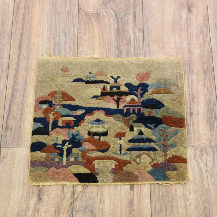 Handwoven Peruvian Wool Village Scene Tapestry 2