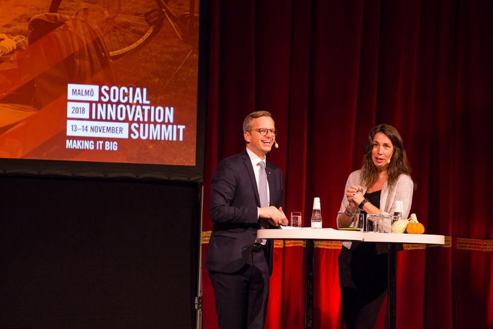 Mikael Damberg (S), Närings- och innovationsminister, föreläser vid Social Innovation 2018 i Malmö. (fotograf: Gustaf Johansson)