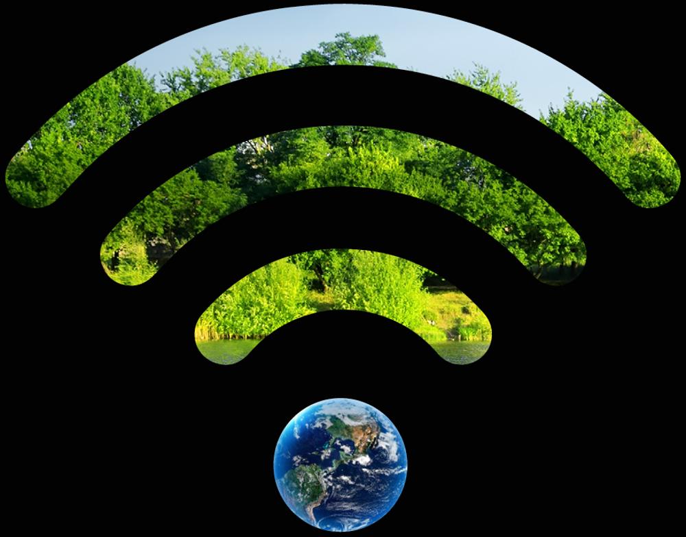 Wifi-symbol med träd i bakgrunden