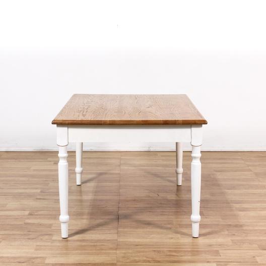 White Kitchen Table W/ Golden Oak Top