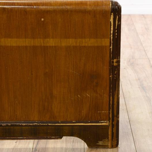 Art Deco Walnut Twin Sized Headboard Loveseat Vintage